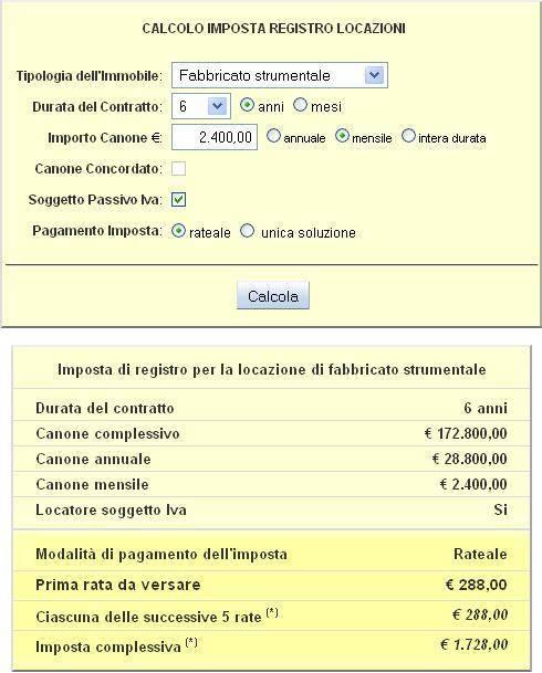 Marvelous Calcolo Tassa Di Registro Fabbricato Strumentale