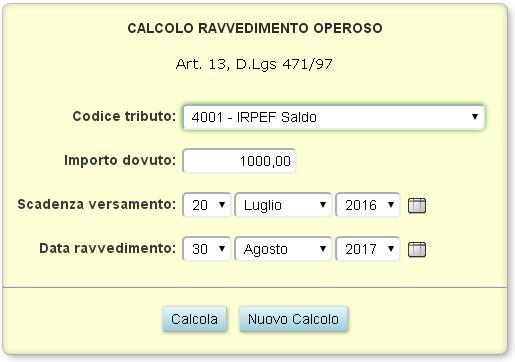 Nuova applicazione calcolo ravvedimento operoso per le for Scadenza irpef